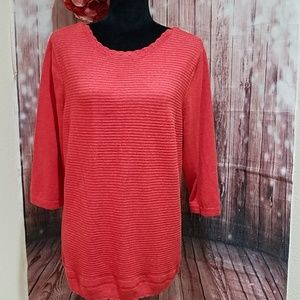 CJ Banks 2X Coral Sweater Top